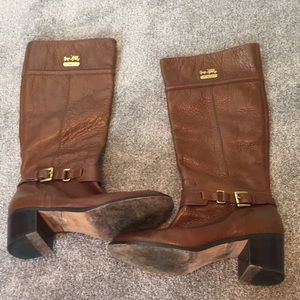 Brown coach leather heeled boots